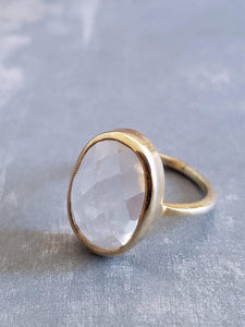 Clear Quartz Ring in Gold Vermeil