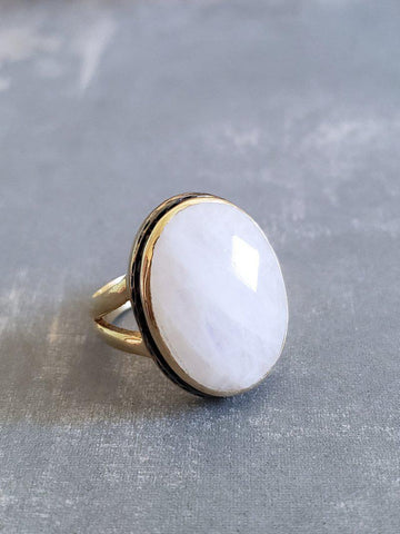 Moonstone Ring in Gold & Oxidized Silver - Summer Indigo
