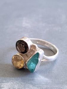 Silver Ring - Citrine, Smoky Quartz and Chalcedony Mix - Summer Indigo