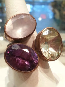 Exquisite triple stone ring - Summer Indigo