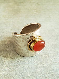 Adjustable Silver Ring - Carnelian