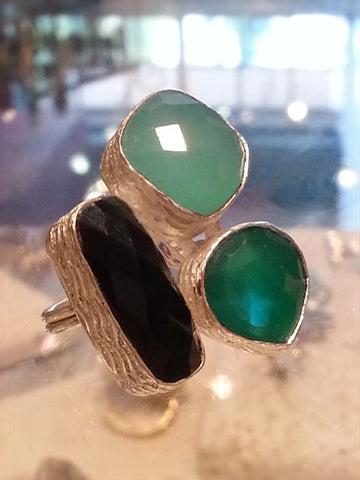 Onyx & Chalcedony Sterling Silver Ring