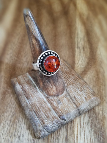 Cherry Amber Ring - Sterling Silver
