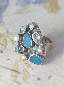 Multi stone silver rings - Summer Indigo