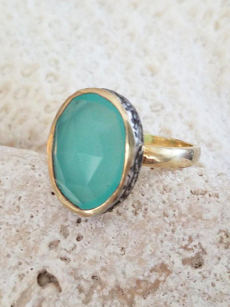 Aqua Chalcedony Ring in Gold & Oxidized Silver - Summer Indigo