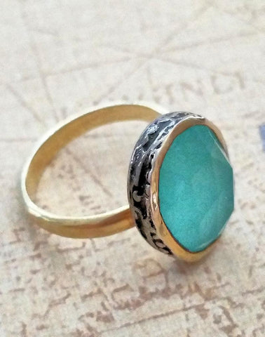 Aqua Chalcedony Ring in Gold & Oxidized Silver