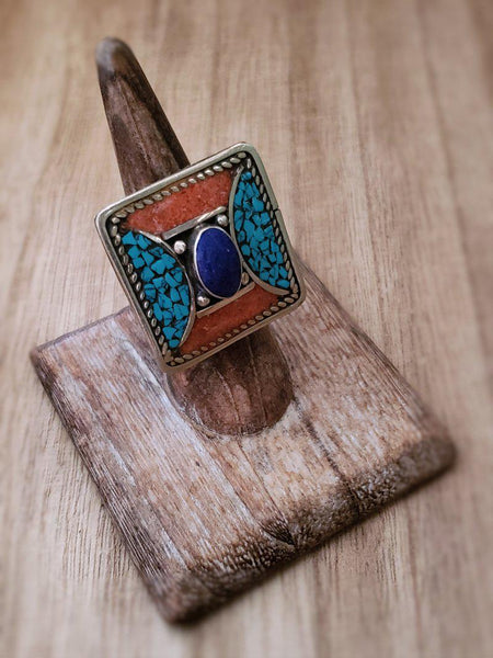 Tribal style Tibetan ring - Summer Indigo