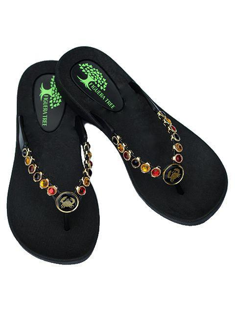 Red, Amber & Black Crystal Sandals w/ Crab Medallion - Summer Indigo