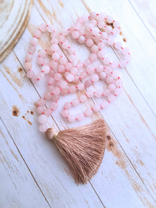 Rose Quartz Mala Necklace - Summer Indigo