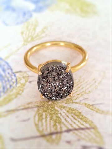 Druzy Gemstone Ring in Gold Plated Silver