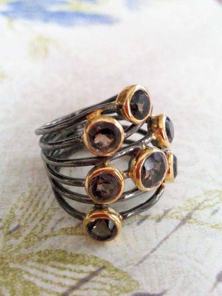 Oxidized Silver and Gemstone Rings