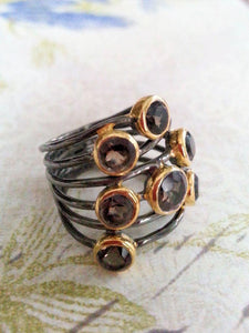 Smokey Quartz and Oxidized Silver Ring - Summer Indigo