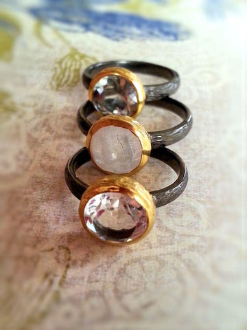 Gemstone Rings in Oxidized Silver