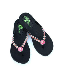 Pink & Silver Crystal Sandals - Summer Indigo