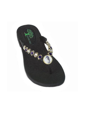 Blue & White Seahorse Sandals - Summer Indigo