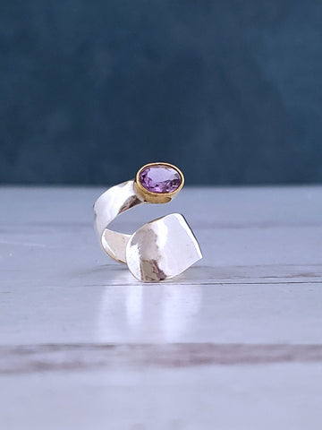 Silver Amesthyst Ring - Adjustable - Summer Indigo