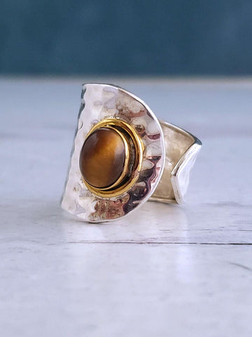 Tiger Eye Ring - Sterling Silver - Adjustable - Summer Indigo