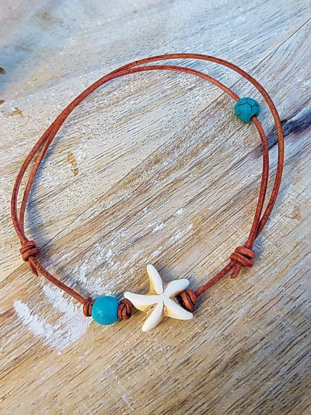 Beachy Starfish Leather Anklets or Bracelets - Summer Indigo