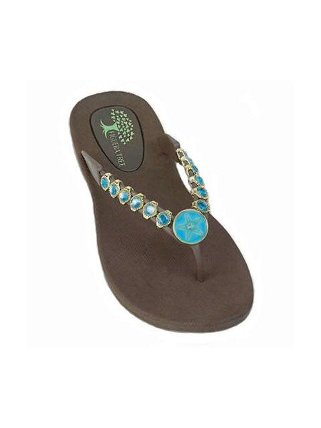 Aqua & Brown Starfish Sandals - Summer Indigo