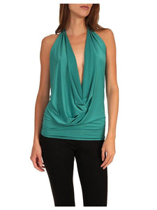 Deep V Halter Top - Jade - Royal Blue - Coral - Summer Indigo