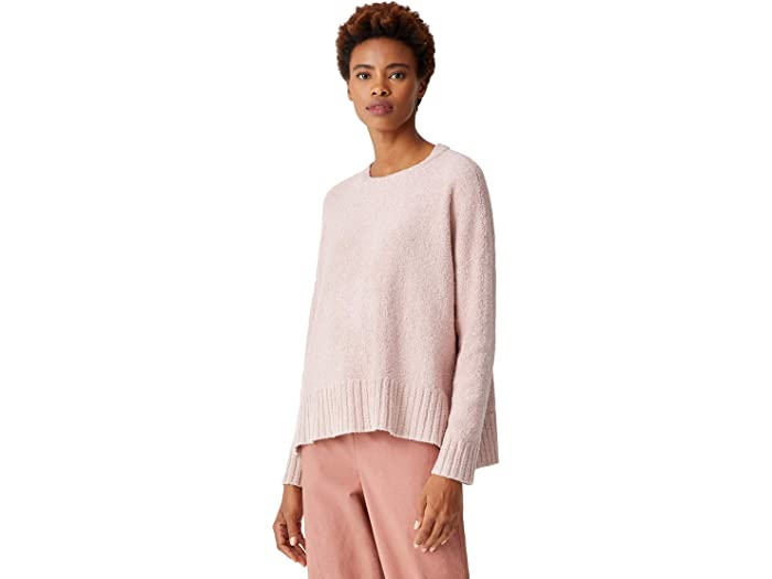 Eileen Fisher Perivian Organic Cotton Boucle Crew Neck Box Top