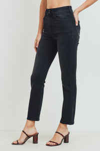 Just Black Denim Black Double Button Straight Leg Jean