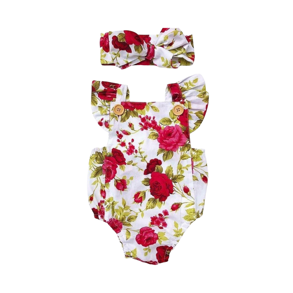 Red on White Floral Romper with Headband Bow