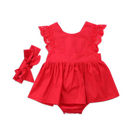 Ruffle Red Lace Romper Dress with Headband Bow
