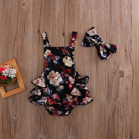 Black Floral Romper Dress with Headband Bow