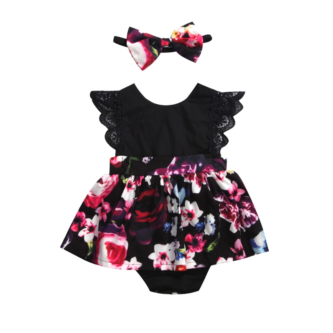 Pink Floral on Black Romper Dress with Headband Bow
