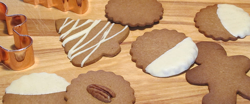Gingerbread cookies decorated with chocolate