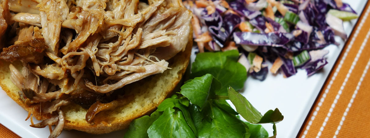 Slow cooked pulled pork and slaw