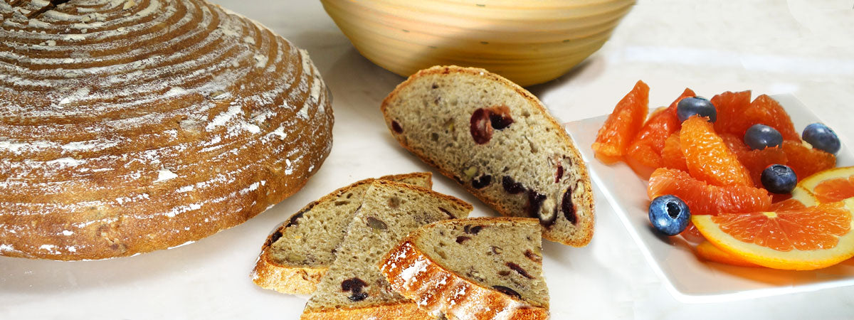 Cranberry pecan boule and fruit
