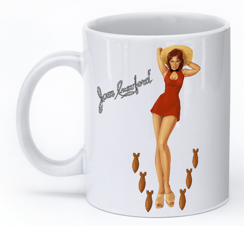 """Joan Crawford Mug"" WW2 Plane nose art mug"