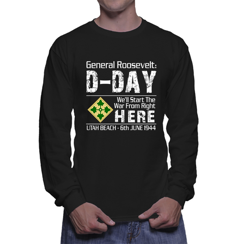 4th Infantry Utah Beach D-Day - Long Sleeve