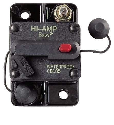 Part # 185050F-01-1  (Bussmann - 50A,185 Hi-Amp Thermal Circuit Breakers, 42V, Push to Trip Type III Surface Mount)