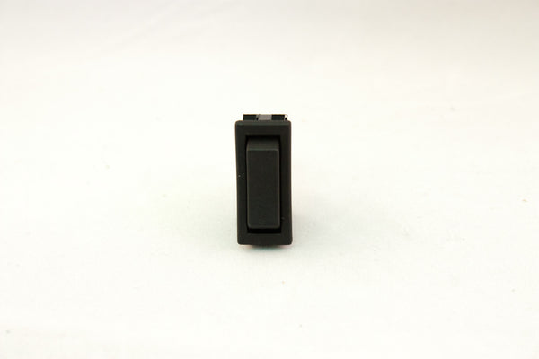 "Part # RR24304-B  (Mini-Euro Rocker Switch SPDT, (ON) None (ON), Black Unlit Actuator, 20A, (3) .250"" Terminals)"