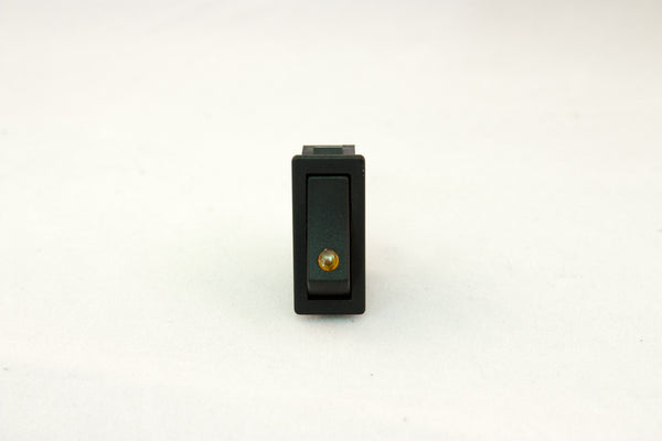 "Part # RR34301-BEA (Mini-Euro Rocker Switch, SPST, ON OFF, 12V LED Effect Amber Lit, Black Actuator, 20A, (3) .250"" Terminals)"