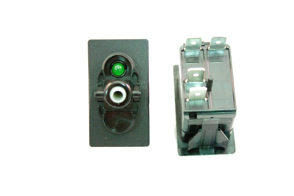 "Part # SB2-11-123-4 (Contura Base, SPST, ON-NONE-OFF, 20A, 12V Rocker Switch, (1) 12V Green LED, (4) .250"" Terminals)"