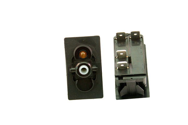 "Part # SB2-11-124-4 (Contura Base, SPST, ON-NONE-OFF, 20A, 12V Rocker Switch, (1) 12V Amber LED, (4) .250"" Terminals)"