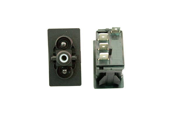 "Part # SB2-24-200-4 (Contura Base, SPDT, ON-OFF-ON, 20A, 12V Rocker Switch, (2) Lights, (4) .250"" Terminals)"