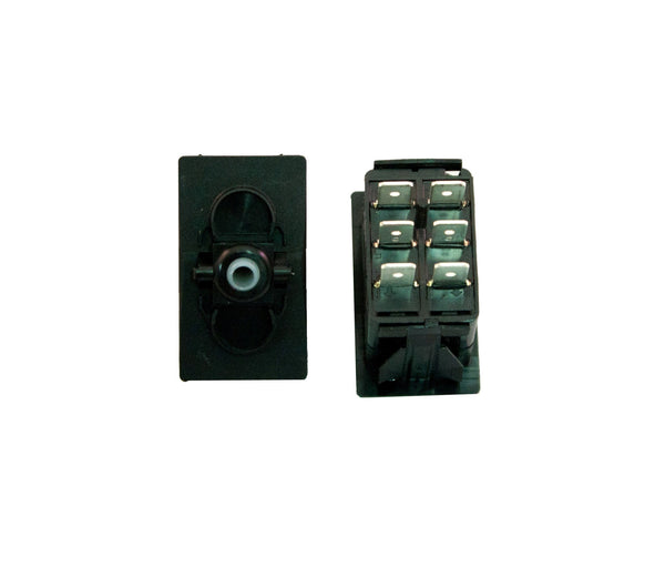 "Part # SB2-43-000-6 (Contura Base, DPDT, ON-NONE-ON, 20A, 12V Rocker Switch, Unlit, (6) .250"" Terminals)"