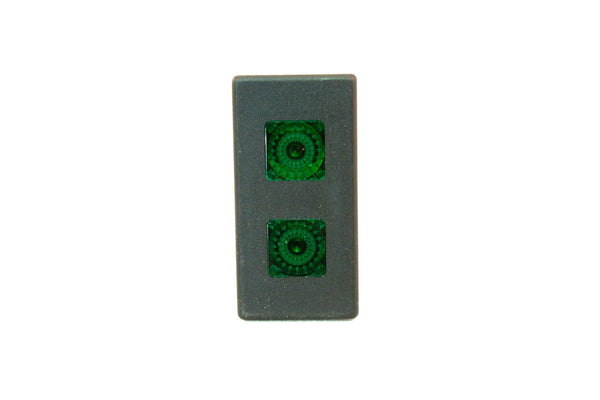 "Part # SB5-00-213-4-IL (Contura V Indicator Light, 12V, (2) Green Square Lenses, (4) .250"" Terminals)"