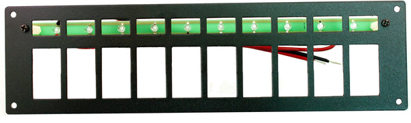 "Part # RREPE10  (10 Position Switch Panel - Euro-Style Switches - Backlighting with 10 Ultra-Bright Green LEDS with Stand-Offs, 24"" Wires, & Mounting Hardware - Size: 3.125""H X 11.5"" W)"