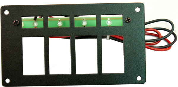"Part # RREPC4  (4 Position Switch Panel - Type: Contura Style Switches - Backlighting with 4 Ultra-Bright Green LEDS with Stand-Offs, 24"" Wires, & Mounting Hardware - Size: 3.125""H X 5.5"" W)"
