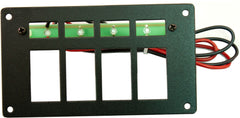 "Part # RREPE4  (4 Position Switch Panel - Euro-Style Switches - Backlighting with 4 Ultra-Bright Green LEDS with Stand-Offs, 24"" Wires, & Mounting Hardware - Size: 3.125""H X 5.5"" W)"