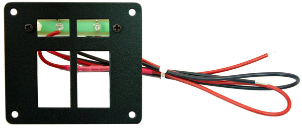 "Part # RREPE2  (2 Position Switch Panel - Type: Euro-Style Switches - Backlighting with 2 Ultra-Bright Green LEDS with Stand-Offs, 24"" Wires, & Mounting Hardware - Size: 3.125""H X 3.5"" W)"