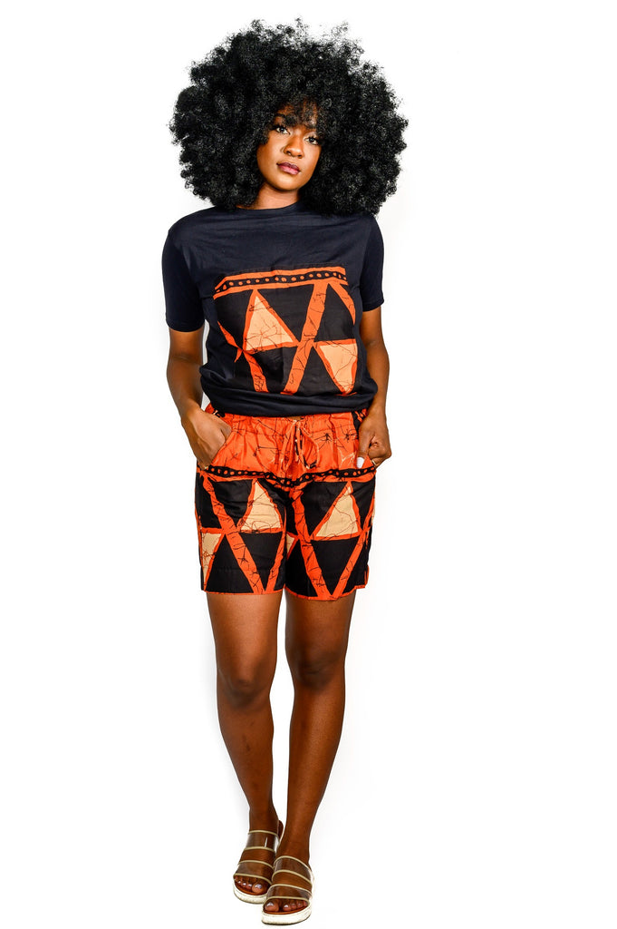 ANNAH Ankara shorts- in orange antique - TRIBE 228