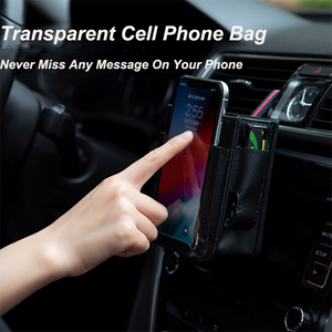 Car Hanging Leather Organizer Phone Bag