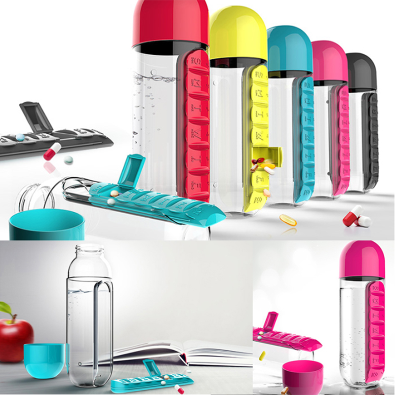 7 Day Pill Boxes Water Drink Bottle